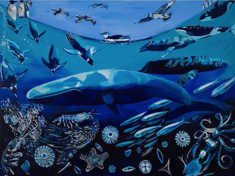 """Whale Web"", Acrylic on Panel by Melissa Glasser"